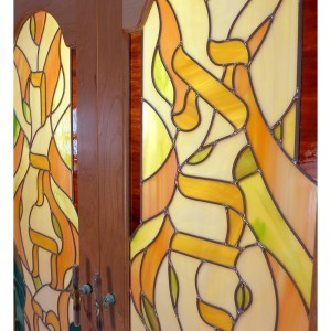 stained glass torah ark doors with glass handles