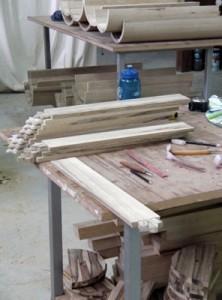 Syrian Round Torah Case wood progress