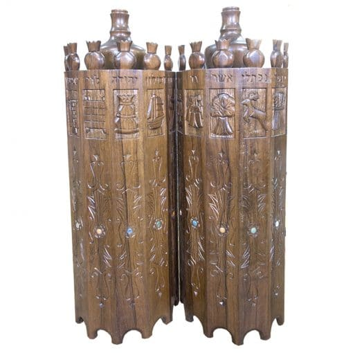 open torah case with twelve tribes carving in solid wood