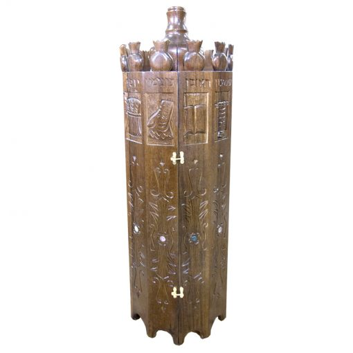 solid wood hand carved twelve tribes on torah case