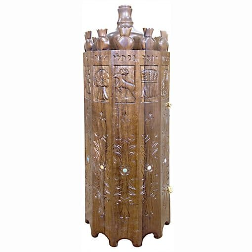 solid wood sephardi torah case with hand carving