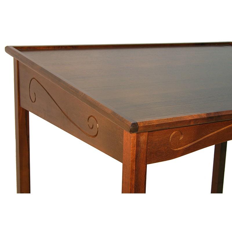 portable wood torah reading table carving detail
