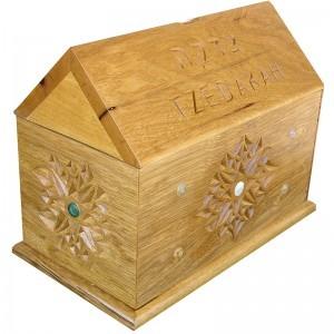 tzedakah box custom built from solid wood for the Brooklyn Children's museum