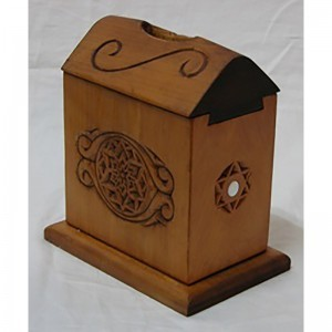 tzedkaah box with hand carving and abalone inlays