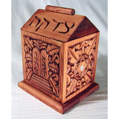 Tzedakah box with dovetail joinery ten commandments theme carving