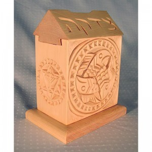 Tzedakah box with dovetail joinery fish carving