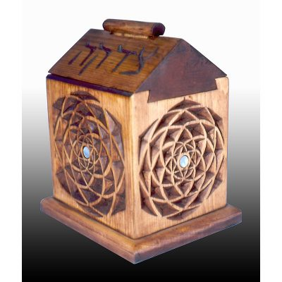 Tzedakah box with dovetail joinery and pattern carving