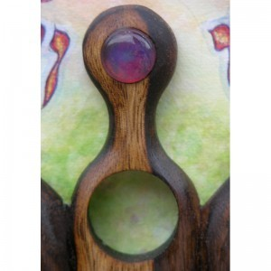 Wood carving and glass inlayw in wood and painted frame
