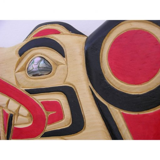 bear with salmon story carving with inlay
